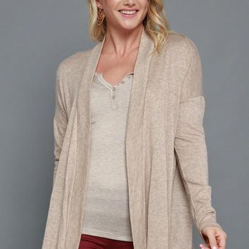 Curvy Taupe Marled Open Cardigan