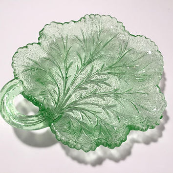 Green Depression Glass Leaf Dish, Vaseline Glass Dish, Vintage Green Glass