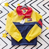 '' Tommy Hilfiger '' Retro color stitching Half zipper Windbreaker Jacket