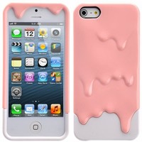 HB Pink & White 3D Melt Ice Cream Detachable Hard Case Cover for iPhone5 5S