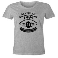 21st Birthday Gift T-Shirt - Made In 1995 - Aged 21 Years To Perfection Short Sleeve Womens T Shirt