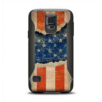 The Scratched Surface Peeled American Flag Samsung Galaxy S5 Otterbox Commuter Case Skin Set