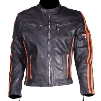 The Racer - Motorcycle Leather Jacket - FREE SHIPPING