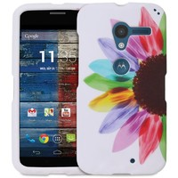 Fosmon MATT-DESIGN Series Slim Fit Rubberized Case Cover for Motorola Moto X 1st Generation (Colorful Sunflower)