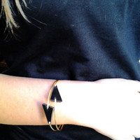 2 Gold and Black stacking bangles Geometric Bangle Bracelet 14K Gold filled Bangle Triangle Geometric Jewelry