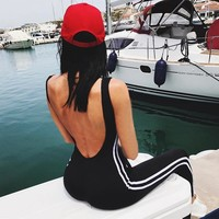 Women Sexy Jumpsuits Yoga Sport Suit Sleeveless Backless Female Gym Running Fitness Workout One piece Women Set