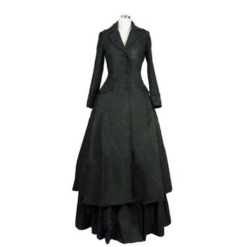 Edwardian Victorian Downton Abbey Gothic Black  Dress Steampunk Vampire Witch Costume