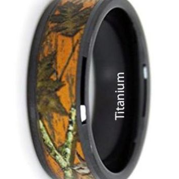 CERTIFIED 8mm Titanium Orange Camo Promise Ring - Hunter Blaze Orange