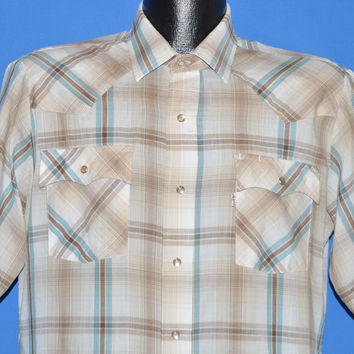 80s Levis Off White Blue Plaid Western Shirt Large