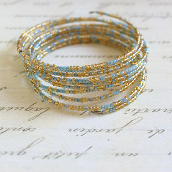 Gold and Blue Seed Bead Wrap Bracelet.  Seed Bead Bracelet.  Beaded Bracelet. Wrap Bracelet. Multicolor Bracelet.