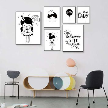 Balloon Fairy Girl Lady Poster Modern Canvas Painting Wall Art Prints Modular Wall Picture For Kids Nursery Bedroom Decoration