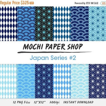 50% OFF Blue Traditional Japanese Digital Paper Download, Wave Patterns, Star Patterns, Blue Graphics, Instant Download, Japanese Star PNG F