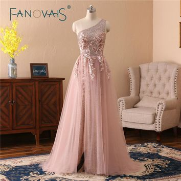 Blush Pink Evening Dresses One Shoulder Sequin Lace Evening Dress Robe