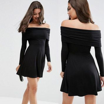 ESBONG Winter Sexy Strapless Shaped Slim Long Sleeve Skating Dress One Piece Dress [8789867207]