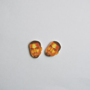 Kanye West Face Stud Earrings Fun Novelty Gag Gift Post Earrings