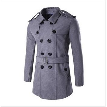 Winter Men Pea Coat Male Mens Wool Coat Peacoat Masculino Homme Long Double Breasted Plus Size XXL Wool & Blends Jacket