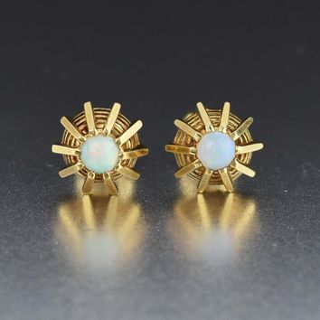 Antique 14K Gold Opal Stud Earrings Art Deco 1930s 17878207c