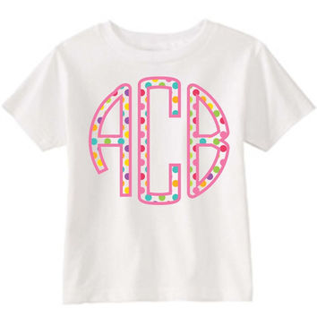 Polka Dot Monogram on Personalized White T-Shirt