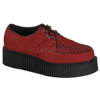 Demonia Red Suede Upper Two Inch Creeper