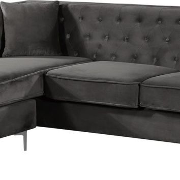 Jesse Deep Tufted Grey Velvet 2pc. Reversible Sectional