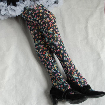 Tights floral small flowers Spring girly pretty in black white yellow purple pink blue multicolors