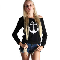 Black Anchor Print Off One Shoulder Sweater