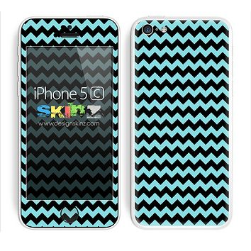 Zig Zag V2 Chevron Pattern Turquoise and Black Skin For The iPhone 5c