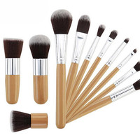 Premium Synthetic Bamboo Blush Foundation Eyeshadow Eyeliner Bronzer Makeup Brushes Sets Plus 1 Piece Makeup Sponges