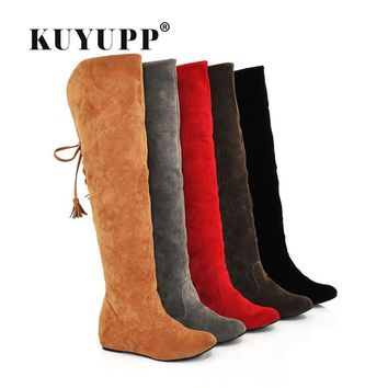 Womens Faux Suede Over the Knee Flat Warm Comfortable Thigh High Boots