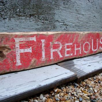 Rustic Distressed Firehouse Wood Fire Fighter Sign