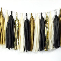Glam Gold Tassel Garland - Black, Ivory, Gold Tissue Paper Tassel Garland - Party Decoration // Wedding Decor // New Year's Eve Party