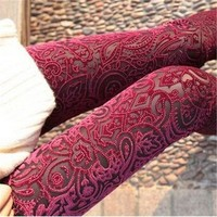 DCCKLG2 Vintage Velvet Transparent Stretch High Waist Leggings