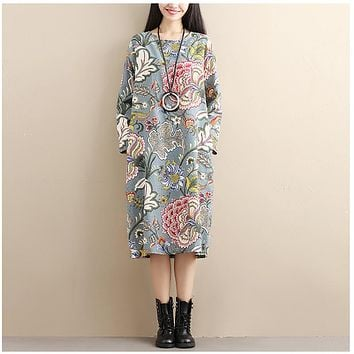 ilstile Bohemian  Retro Women Long Sleeve Floral Print Long Dress Casual Loose Cotton Linen Pockets Dress Oversized Kaftan Autumn