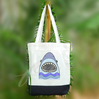 Shark tote bag wide mouth fish sea 2 size Two tone off-white/black , shopping tote bag, printed tote bags
