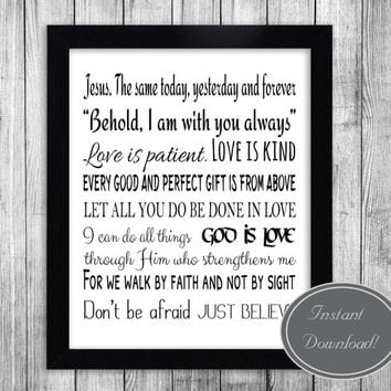 Christian inspirational printables, Bible verses wall art, home decor, black white Office Motivational Poster Printable Artwork Design