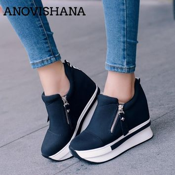 ANOVISHANA Platform Shoes Women Ladies sneakers Canvas 3.5cm heighten increasing Slip on Causal Spring Autumn Black Red H149