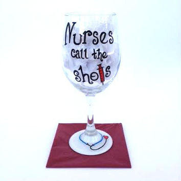 Nursing hand painted wine glass