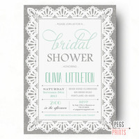 Burlap and Lace Bridal Shower Invitation - Burlap and Lace Invitations - Mint Bridal Shower Invitation (Printable) Mint Green Invitation