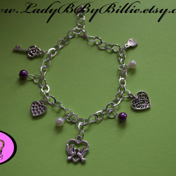 Love Charm Bracelet with Love Charms and Dangle Beads