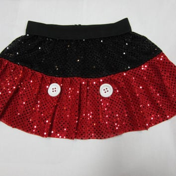 Mickey Mouse inspired Sparkle Running Misses two layer skirt