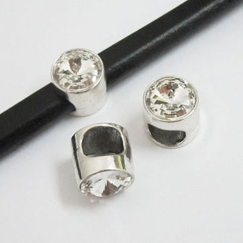 Crystal slide charms for regaliz and licorice leather.