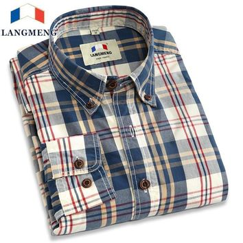 New Men Plaid Casual Shirt With Long Sleeve / 100% Cotton Dress Shirt For Men