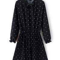 Polka Dots Bowknot Long Sleeve Dress