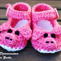 Crochet baby shoes, baby booties , Pink pig shoes , baby slippers , summer baby girl shoes