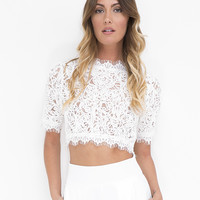 CATALINA LACE CROP TOP - WHITE