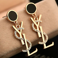 YSL fashion hot selling gold ear nail temperament button ear nail