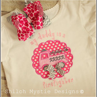 Firefighter Daddy shirt Onesuit-fireman daddy shirt-pink firetruck shirt-firetruck shirts for girls-girls firetruck shirt