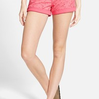 Junior Women's Celebrity Pink Eyelet Denim Shorts