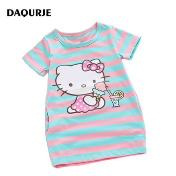 Summer Girls Dress Cartoon design Party Kids Dresses For Girl Clothes Children Vestidos Costume Roupas Infantis Menina