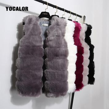 YOCALOR Fur Vest High Quality Fox Faux Fur Coat Outerwear High Imitation Mink Coat Full Pelt Warm Winter Overcoat Jacket Women